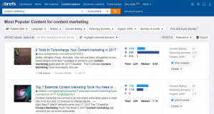 Ahrefs Content research tools
